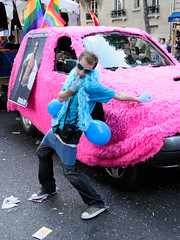 Gay Pride 2009  Paris (Thibault Dangraux) Tags: pink blue people man paris france june rose geotagged juin walk parade bleu lgbt carnaval gaypride manifestation homme reportage dfil fierts gaypride2009