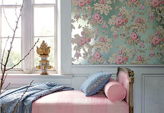 annafrench (gathering spriggs) Tags: wallpaper vintage aqua textiles chinoiserie