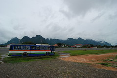 The local bus stop in Vang Viang