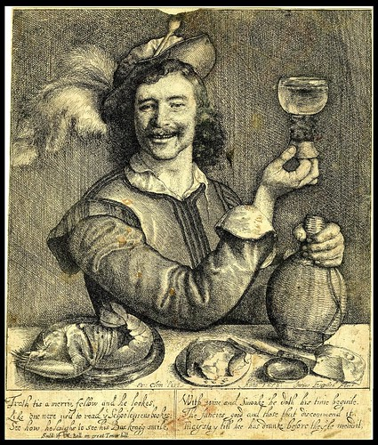 A drinker, seated at a table with a flask and a lobster 1656