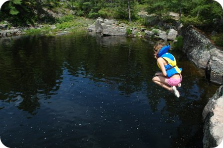 jumping into the water at High Falls Achray