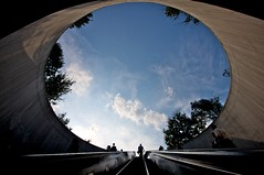 Hole to the Sky (Samer Farha) Tags: blue sky people clouds concrete washingtondc metro dcist escalators dupontcircle