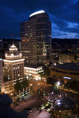 Downtown (Jon Asay ) Tags: urban night oregon square portland twilight downtown cityscape fake shift disk pdx courthouse tilt pioneer      funkitupfriday