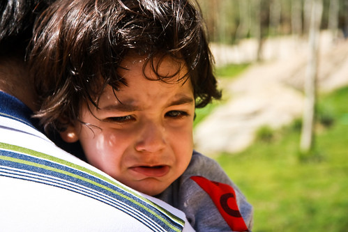 child crying outside