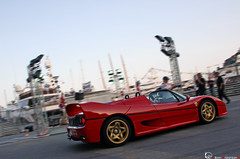 We are golden (Vikars') Tags: red photoshop gold lights shot harbour song wheels may grand ferrari pop montecarlo monaco mc prix spots exotic friday rims mika panning 2009 supercar gp vendredi f50 viken vikars wearegolden arslanian