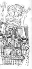 cathedral's organ (Luis_Ruiz) Tags: architecture sketch spain cathedral drawing catedral andalucia organ baroque andalusia dibujo malaga mlaga barroco carnetdevoyage rgano urbansketchers