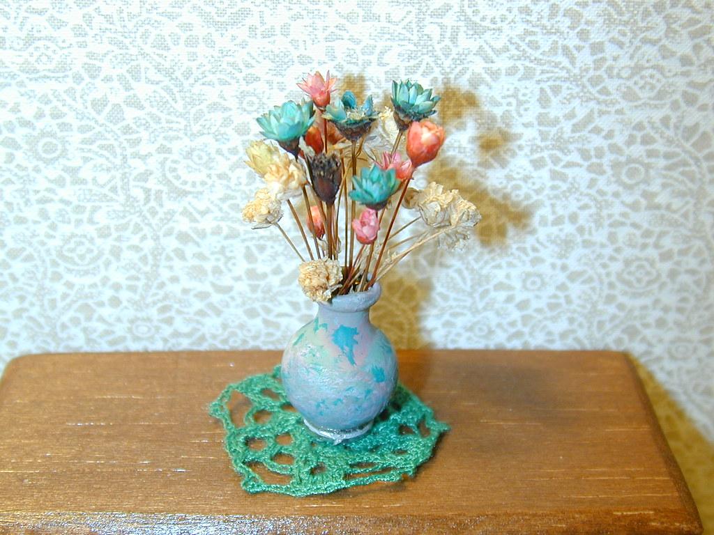 Dollhouse Miniature Flowers in Vase