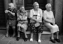 [フリー画像] [人物写真] [一般ポートレイト] [老人/お年寄り] [おばあさん/おばあちゃん] [集団/グループ] [モノクロ写真]     [フリー素材]