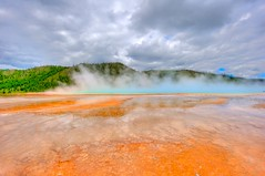 Yellowstone (Gary P Kurns Photography) Tags: park orange nature colors clouds landscape nikon rust scenery montana grand basin steam textures national yellowstone wyoming elk geyser midway tones 2009 prismatic wideanglelenses nikond3