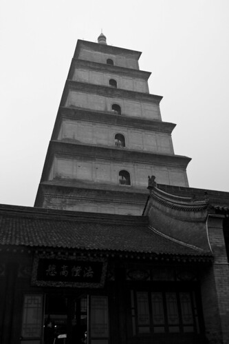 Big Wild Goose Pagoda in the Rain (by niklausberger)
