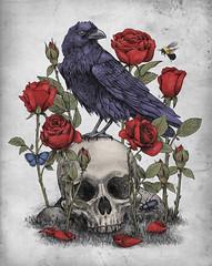 Memento Mori (igo2cairo) Tags: roses skull gothic insects mementomori threadless raven teeshirts edgarallanpoe igo2cairo oldtattoodesign