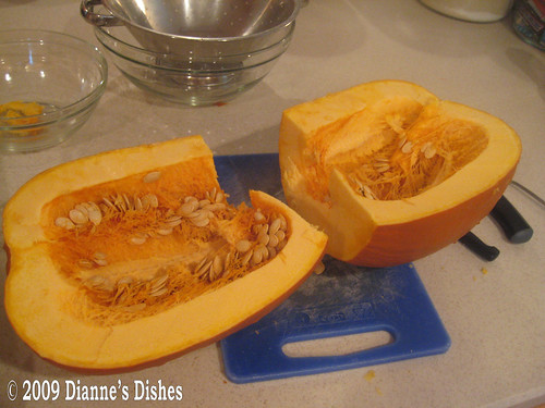 Roasted Pumpkin: Cut in Half