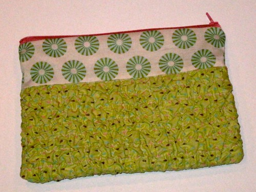 zipper pouch with  texture magic
