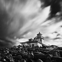 Alki Point Lighthouse (Jeff Engelhardt) Tags: seattle morning blackandwhite lighthouse white black monochrome sunrise dawn rocks long exposure tide low diagonal alki westseattle alemdagqualityonlyclub
