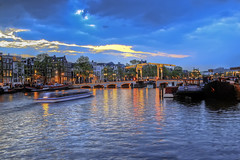 Evening beside a canal in Amsterdam (Barry_Madden) Tags: city sunset holland amsterdam boats evening canal hdr