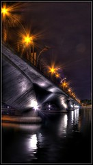 ( Divine Rapier) Tags: street bridge light sea orange water night river singapore