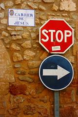 Stop! - Jesus on the Right! (DOS82) Tags: sign spain religion jesus right espana stop roadsign mallorca spanien majorca balearen balearicislands balearic pollenca malle inselwelt malloze