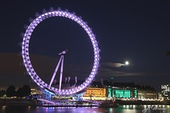 London Eye (gwhiteway) Tags: uk travel england moon london tourism night londoneye moonlight colorphotoaward
