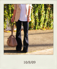 10-8, J Brand Lovestory jeans, wide leg jeans, bell bottom jeans, indigo jeans, dark denim, men's v-neck oversized t-shirt, beige blazer, chain necklaces, Zac Posen handbag, posen bag, big purse, crimped hair, Tom Ford Sunglasses, sunnies, socks with heels, Pour la Victoire nude platforms with wooden heels, open toe chunky heels