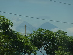 Can you see the volcano on the left has smoke pouring out of it...