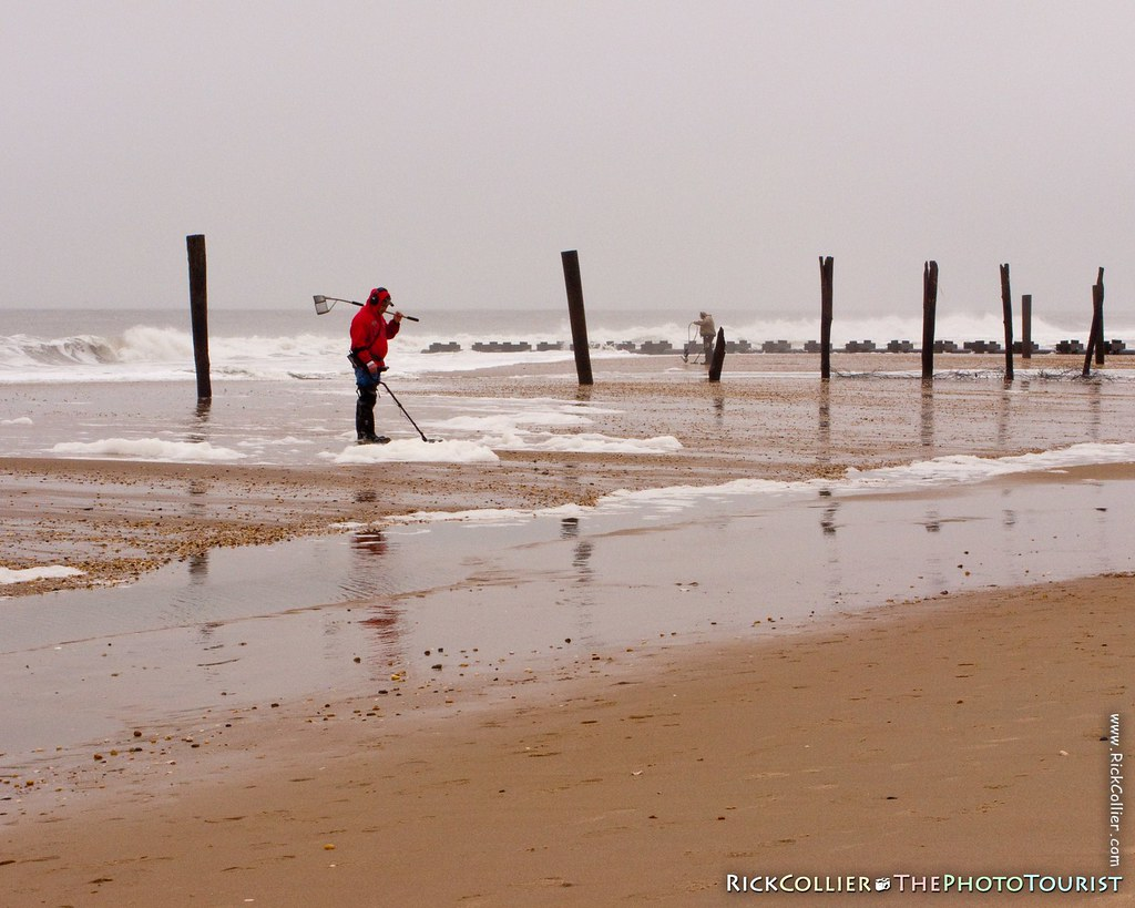 Treasure hunters haunt the beach at Rehoboth Beach, Delaware, USA, in the wake of a major nor'easter in November, 2009.