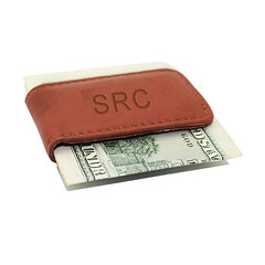 Engraved Brown Leather Money Clip (CoolShoppingIdeas.com) Tags: leather gifts moneyclip mensgift