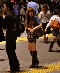 Shibuya Cutie at a crosswalk () Tags: street camera city vacation people woman girl leather fashion night asian island tokyo calle pumps highheels boots shibuya moda style corso mini skirt heels  nippon garota  mulheres oriental  crosswalk 70300mm mujeres isle fille rtw japon crowds nihon edo kanto vacanze asiangirl roundtheworld japanesegirl shortskirt globetrotter japn honshu shoefetish blackboots schn   streetcrossing japanesefashion shibuyaward leatherboots  worldtraveler shibuyaku nightcapture landoftherisingsun  nihonkoku nipponkoku tkyto   d700 tokyometropolis   tkei