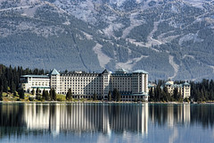 The Fairmont Chateau, Lake Louise (sminky_pinky100 (In and Out)) Tags: travel trees lake canada mountains tourism beautiful reflections landscape hotel aqua trails alberta lakelouise therockies abigfave omot citrit exploreunexplored betterthangood fairmontcahteau