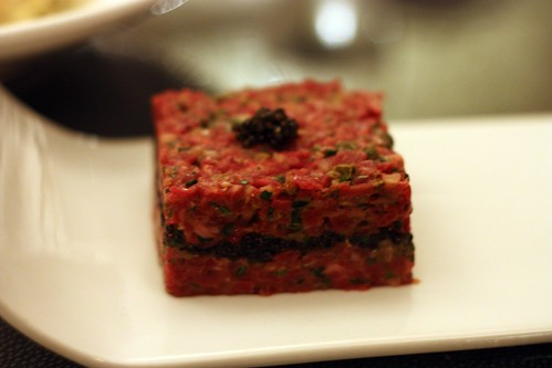 Napoleon Tartare - Hand sliced steak tartare with layer of caviar