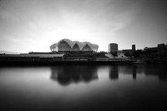 The Sage Gateshead - Newcastle (5ERG10) Tags: uk longexposure morning england sky bw white black water glass sergio clouds reflections river newcastle nikon long exposure unitedkingdom steel centre tripod performance wideangle landmark sage tyne gateshead musical daytime curve quays newcastleupontyne inghilterra arup d300 fosterandpartners sigma1020 nohdr nd110 bratanesque mottmacdonald amiti 5erg10 sergioamiti
