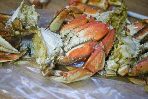 dungeness crabs, cleaned and halved
