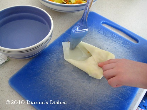 Egg Rolls: Brushing Top with Water