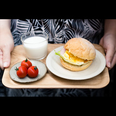 (Masahiro Makino) Tags: morning woman japan female breakfast photoshop canon tomato bread eos japanese milk kyoto egg adobe   tray f18 lightroom ef50mm 60d gettyimagesjapanq2 20110512111205canoneos60dls640p