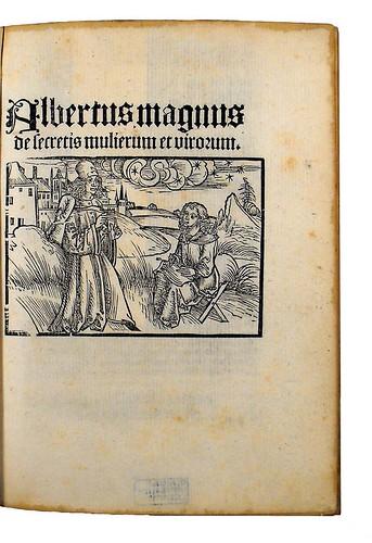 Illustrated title-page of Albertus Magnus [pseudo-]: Secreta mulierum et virorum (cum commento)