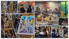 Montmartre, peintres de la place du Tertre... (miriam ulivi) Tags: miriamulivi nikond7200 france parigi paris montmartre placedutertre peintres pittori people colori colors collage picasa