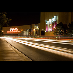 Sands Expo Center (Bright Lights, Vegas Nights) Tags: red white night canon eos lasvegas lighttrails sands traffictrails rebelxs sandsexpo canonefs1855mmf3556is 1000d