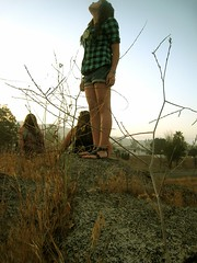 I'm Standing Here Until You Make Me Move (alexisjeanette) Tags: friends summer standing sunrise morninglight weeds flannel juniperflats gladiatorshoes jesusstompers