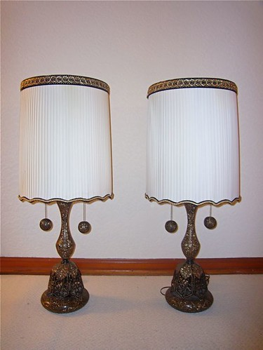 "Midcentury Black & Gold ""Filigree"" Lamps PAIR-1"