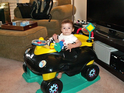 Finn in his toy car