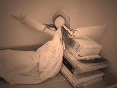 Rags, #2 (vajra) Tags: white sepia doll dolls iphone ecru