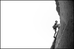 Smith Rock 3 (Paul Reynolds Photography) Tags: blackandwhite bw sport rock oregon digital paul outdoors climb nikon outdoor rope adventure climbing sweat effort climber athlete rockclimbing smithrock reynolds d300 rockclimber climbingshoes paulreynolds outdoorphotography adventurephotography httppaulfreynoldscom