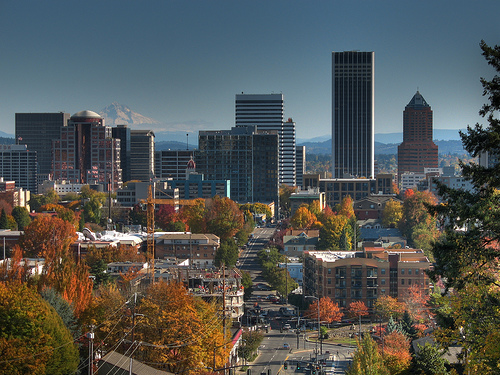 downtown Portland, with Mt Hood in the distance (by: David Grant, creative commons license)