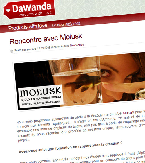 Molusk - Interview DaWanda - Septembre 2009