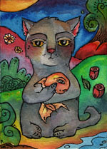 aceo263sm (swallothemoon) Tags: fish art cat percy