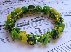 spring green button embellished right angle bracelet (randomcreative) Tags: green yellow spring jewelry bracelet etsy rightangleweave beadweaving plasticbuttons buttonclasp beadwoven offloom randomcreative buttonembellished