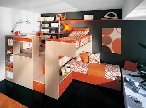 Interior decorating kids bedroom with loft bed, kids furniture