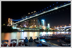Bitan Suspension Bridge night scenes (nans0410) Tags: nikon tokina taipei  suspensionbridge  bitan nightscenes blackcar  d90
