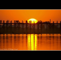 U Bein bridge VII - Amarapura - Myanmar (Lucie et Philippe) Tags: bridge sunset sun soleil burma coucher bein sunsets myanmar philippe coucherdesoleil amarapura birmanie langel