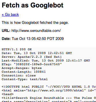 Google Webmaster Tools Labs: Fetch as Googlebot