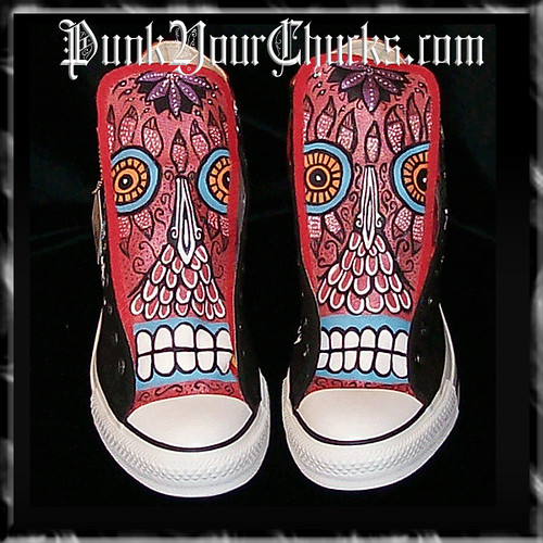 high tops element. Mexican Day of the Dead Hand Painted Converse Hi Tops